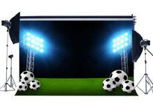 Terrain de Football toile de fond stade intérieur Bokeh stade lumières vert herbe prairie sport Match fond