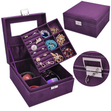 hot deal buy guanya 2 layers velvet square watch jewelry box fashion jewellery display storage packaging case organizer gift boxes 5 colors