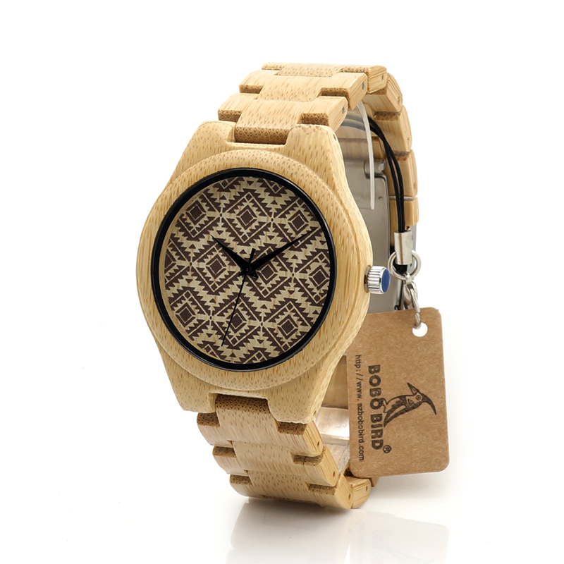 цена на 2017 BOBO BIRD Bamboo Men Watch Handmade Wood Watches Brand Luxury Wood Band Mens Wrsitwatches relogio masculino C-I28