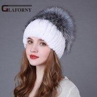 Glaforny 2017 Hot Sale Women Striped Fur Hat Big Silver Fox Fur Pompoms Russian Winter Rex Rabbit Fur Beanies Casual Fur Skullie