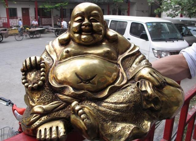10 китайский Фейн Бронзовый Медь Gild Sack монах Архат Happy смех Майтрейя статуя