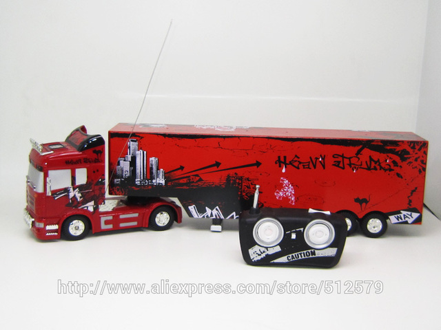 High Quality Big Remote Control Big Size 1:32 RC 6CH Container Heavy Truck With Lights  And