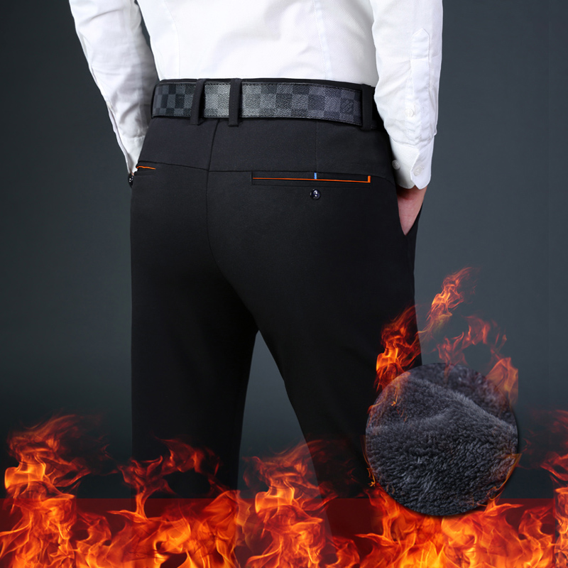 Winter Fleece Warm Men's Formal Pants Velvet Business Suit Pants Men Cotton Slim Elastic Trousers For Men 2019 Summer