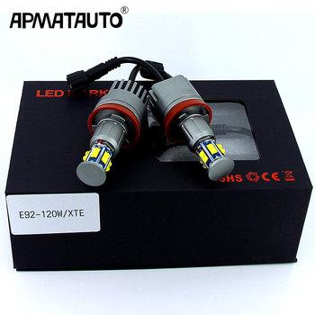 2 sztuk 1 zestaw 2x120W 240W E92 H8 LED anioł oczy obrysówki Led światła canbus dla BMW X5 E70 X6 E71 E90 E91 E92 M3 E89 E82 E87 reflektor tanie i dobre opinie APMATAUTO Angel eyes 60mm 6500 k White 12W-15W 2pcs led bulb Play and plug