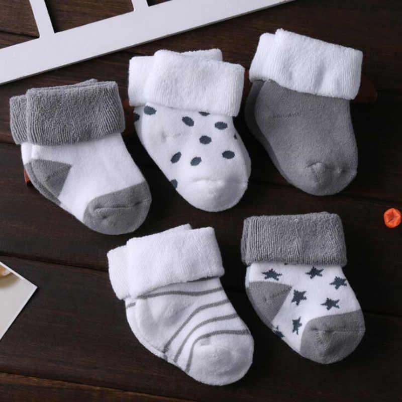 5 paar/partij nieuwe katoenen dikke baby peuter sokken herfst en winter warm baby voet sok
