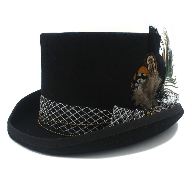 13.5CM 4 Size Steampunk Black Wool Women Men Steampunk Fedora Hat Top Hat  For Traditional Beaver Party Wedding Hat 1ac09d1f64d