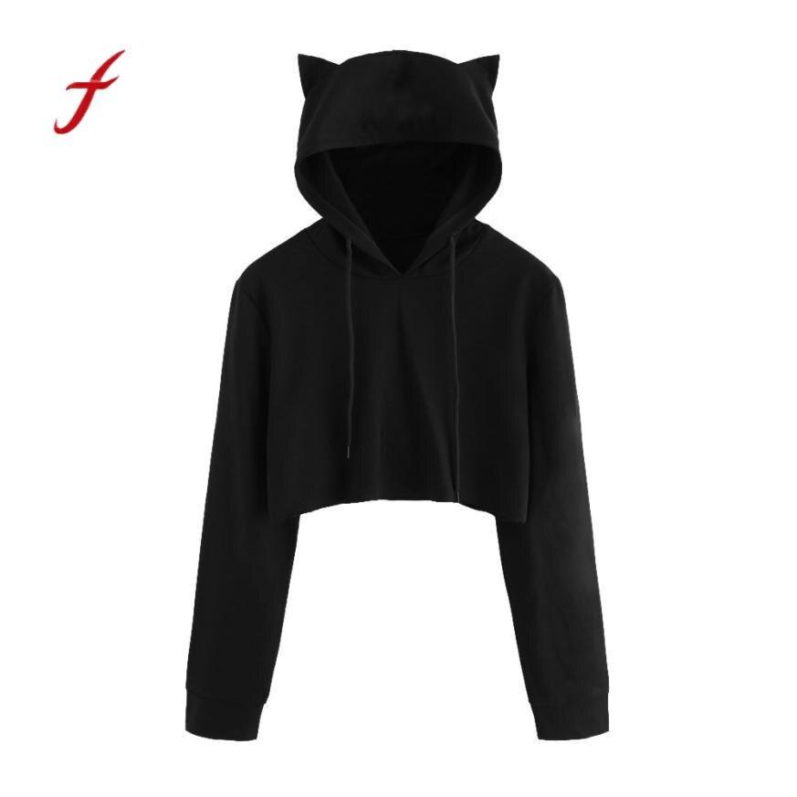 Fashion Cute Cat Print Hoodies Women Cat Ear Cartoon Long Sleeve  Kawaii 2018 Lovely Ladies Pullovers Sweatshirt Woman thumbnail