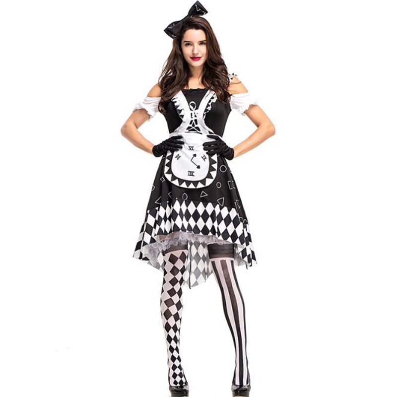 Deluxe Quality Women Glam Costume Movie Alice In Wonderland Adult Clock Cosplay Clothing