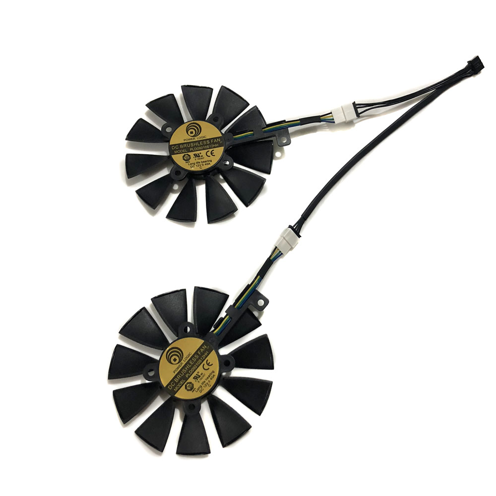 2pcs/set PLD09210S12HH EX-GTX1070 EX-GTX1060 GPU Video Cooler Fan For ASUS GeForce GTX 1070/1060 DUAL Graphics Card Cooling image