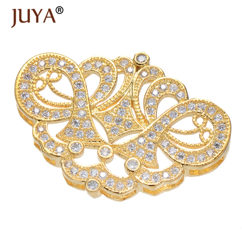 jewelry findings components luxury cubic zirconia crystal charms spacers connectors for diy bracelets necklace accessories gift