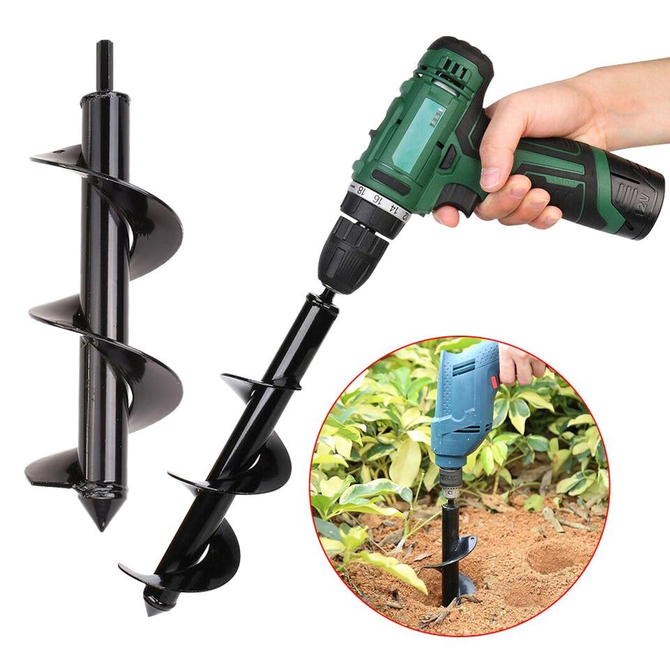 Ground Drilling DMFSHI Garden Drill Bit Set Garden Planter Tool Set With Cut-Resistant Gloves Garden Auger Drill Bits For Planting Trees Shrubs Deep Cultivating