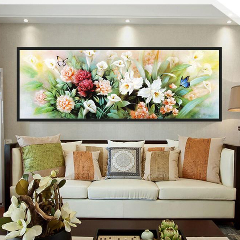 Diamonds Painting Peony Flowers Butterfly Living Room Wall Decor DIY Cross Stitch Full Kit Diamonds Embroidery
