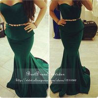 Long Elegant Prom Dresses 2015 Gorgeous Mermaid Sweetheart Neckline Off The Shoulder Stretch Satin Long Emerald