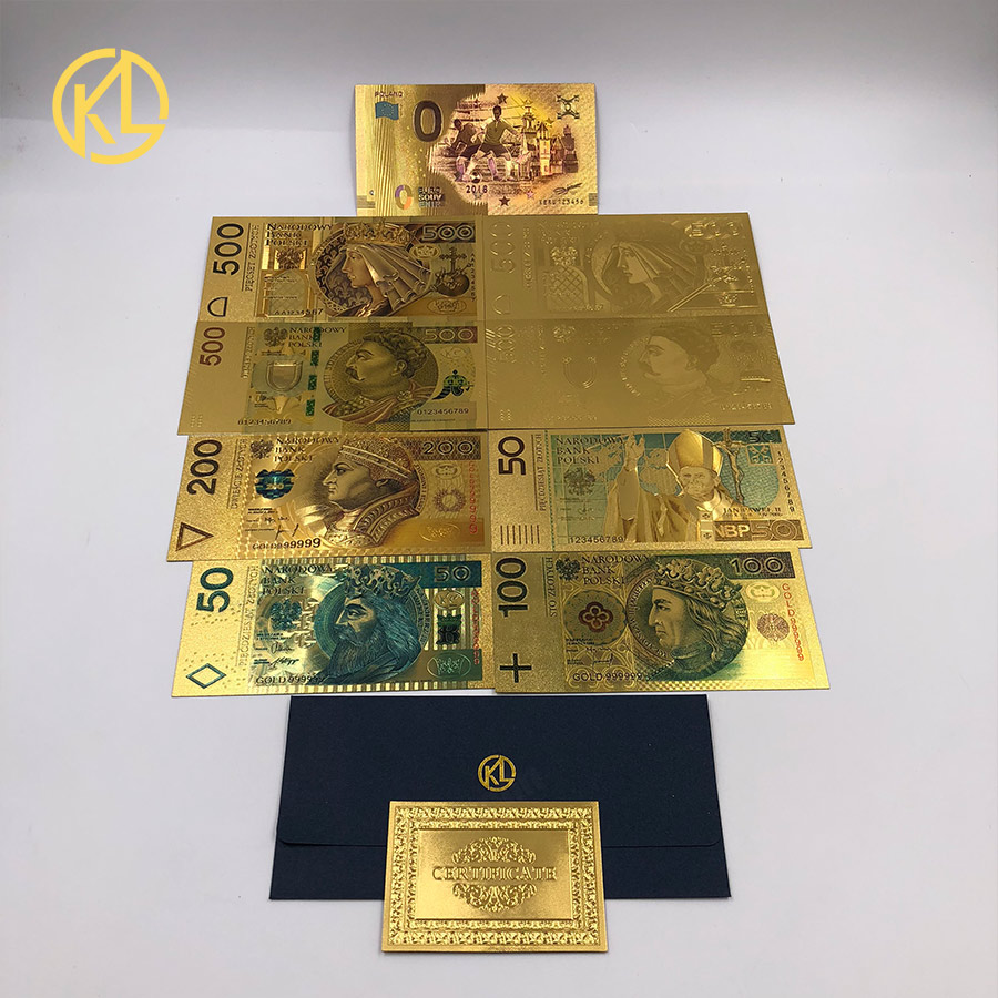 HOT 1pc Kelin Colored 999 9 Gold Foil Banknote Money Poland 50 PLN for  business gifts and home decoration