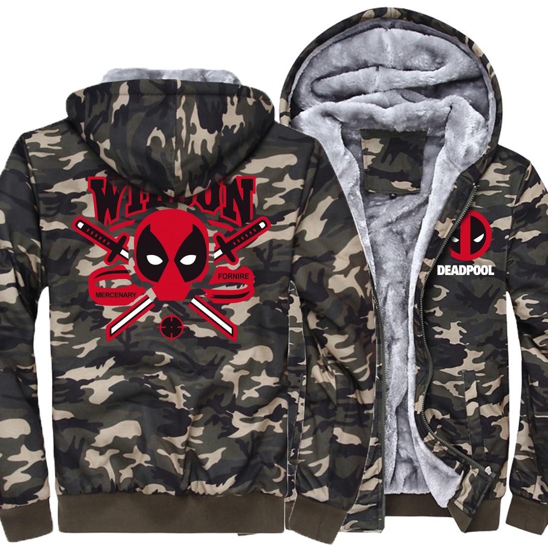 High Quality Winter Jacket 2019 New Fashion Streetwear Punk Style Camouflage Thick Hoodies Men DEAD POOL Hip Hop Sweatshirts