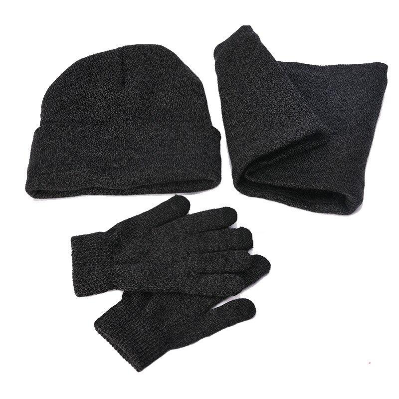 Елезов 3 шт./компл. плюшевые, вязаная шапка бини с наушниками, Сенсорный экран перчатки и шарф-воротник Для мужчин теплые зимние водительские перчатки Череп снежные шапки Новые - Цвет: Темно-серый