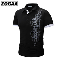 ZOGAA Men Polo Shirt Casual Short Sleeve Men's Cotton Letter Print Slim Fit Camisa Polo Summer Male Top Tees Undershirt Male