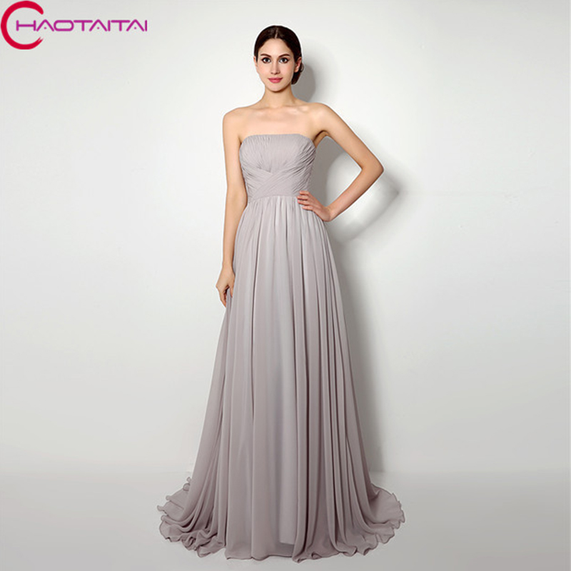 Bridesmaid Dresses Cheap Long Simple Pleats Chiffon A Line Formal
