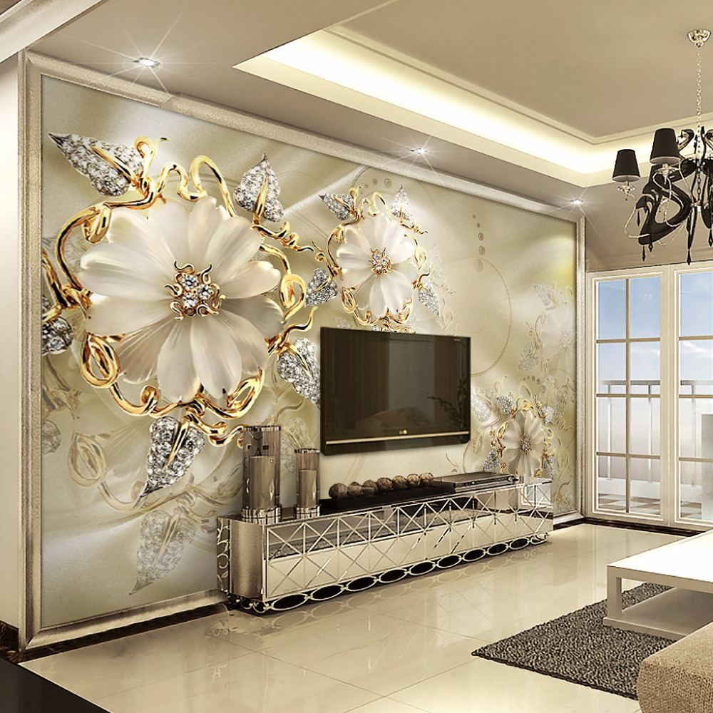 Popular Wallpaper Marble Silver - 3D-European-Style-Marble-Diamond-Jewelry-Flower-Wallpaper-Mural-High-Quality-Non-woven-Large-Wall-Painting  Image_103673.jpg