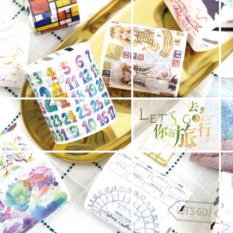16 Стиль Go Путешествия часть 3 декоративные васи Скотч Diy Скрапбукинг клейкой ленты Школа канцелярских товаров