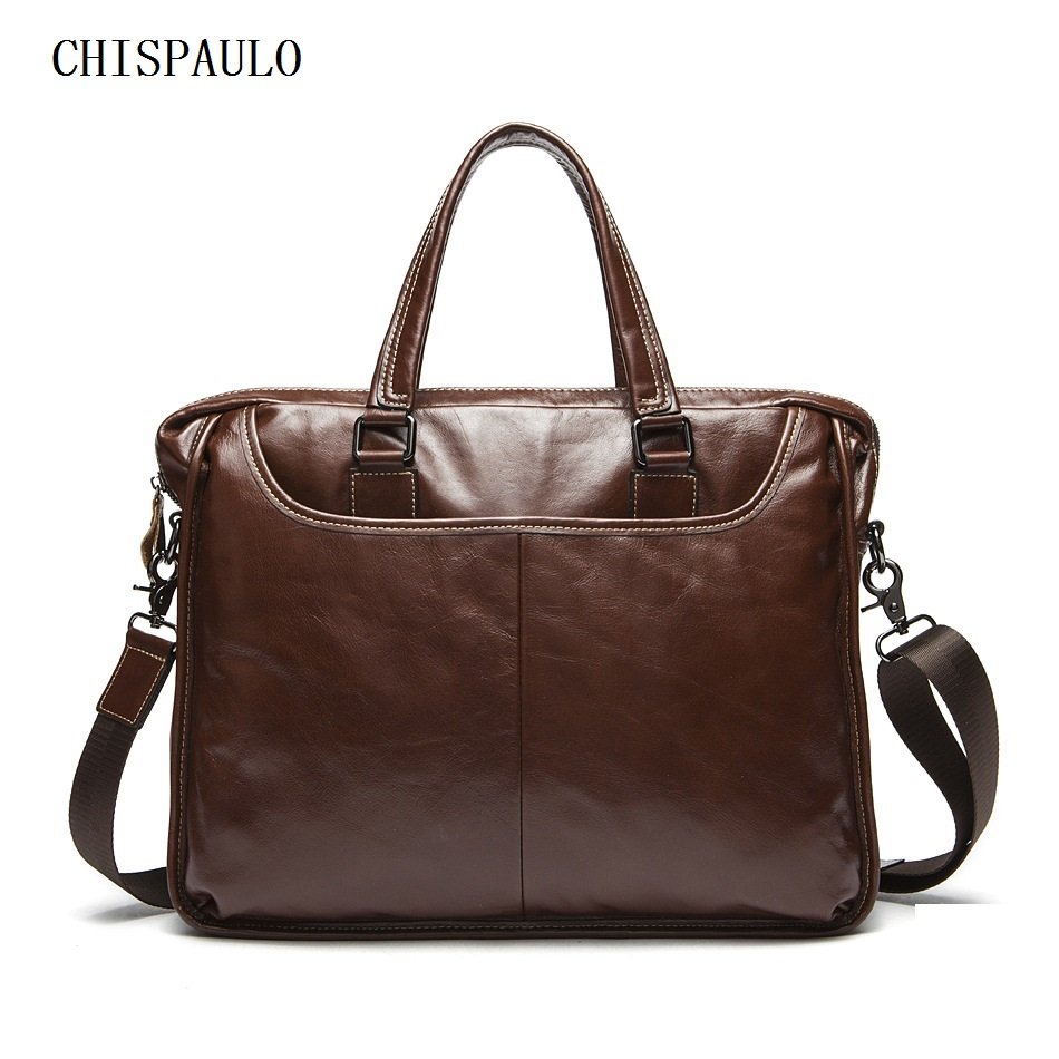 CHISPAULO Men Messenger Bags Mens Briefcase Handbags Genuine Leather Men Bag Men's Shoulder Crossbody Bags Leather Laptop  T733
