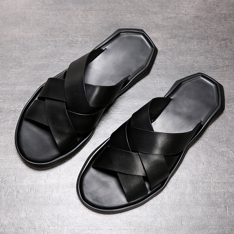 2019 New Summer Men's Sandals Top Layer Leather Shoes Beach Shoes Casual Breathable Non-slip Soft Soles Sandals For Men