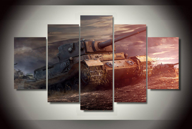 5 Panel HD Printed Canvas Painting Tank Army Poster Canvas