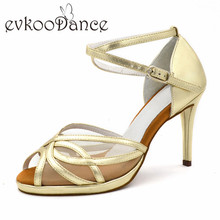 New Style Golden PU With White Mesh Size US 4-9.5 Heel Height 9 cm Professional Dancing Shoes Latin Salsa For Women NL182