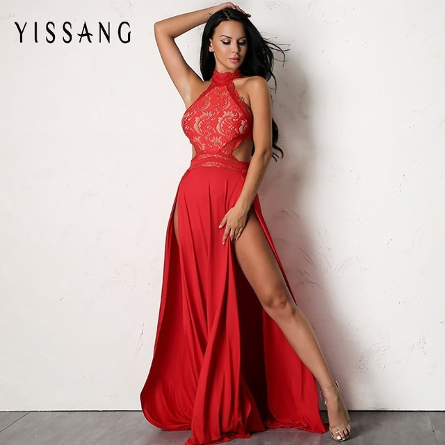 Yissang Elegant Red Black Long Dress Women Sexy High Split Hollow