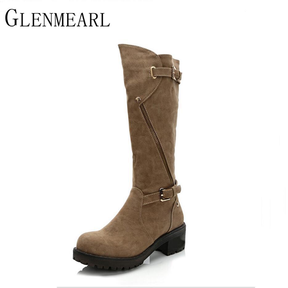 2017 New Winter Knee-High Women Boots Fashion Brand Leisure Square Heel Flat Black Warm Female Boots Shoes Large size 40 XP35 пена монтажная tytan o2 профессиональная зимняя 750 мл