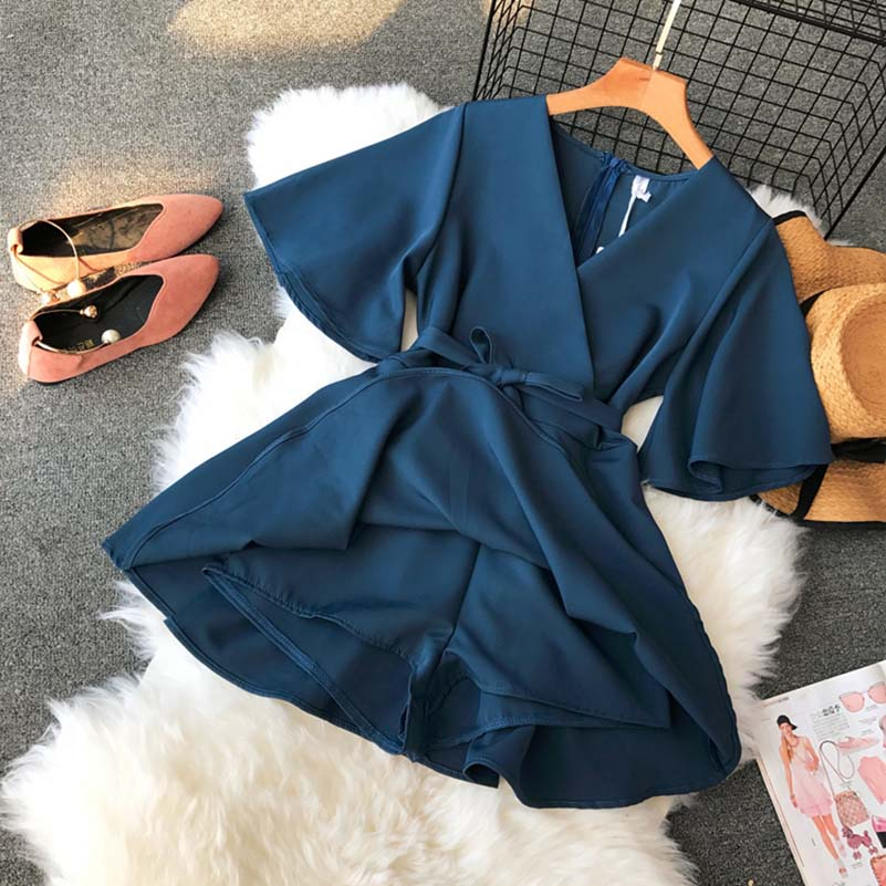 Women's V Neck Flare Sleeve Solid Color Playsuits Lady's Vintage Spring Summer Wide Leg Shorts Jumpsuits 2019 Summer New Rompers