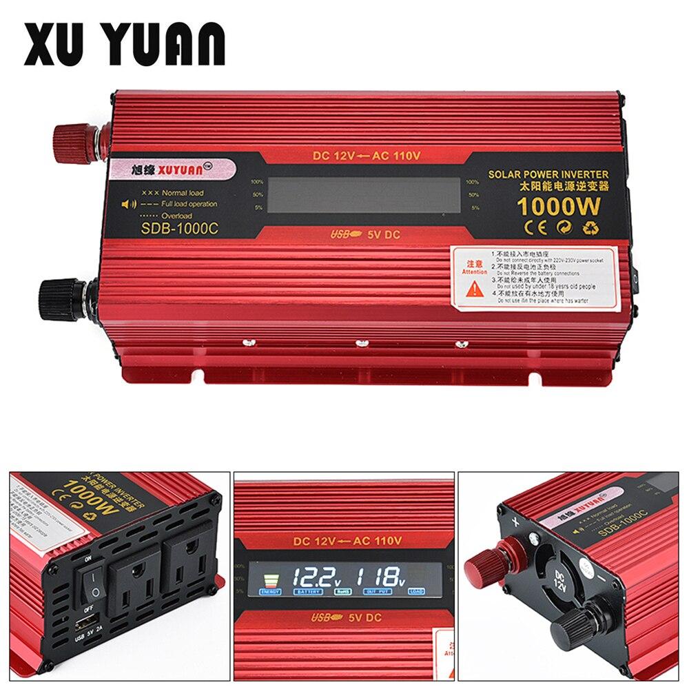 1000 Вт 12 В 24 В к AC 230 В 110 В Солнечный Мощность автомобильный инвертор Алюминий сплав ЖК-дисплей Дисплей Авто конвертер