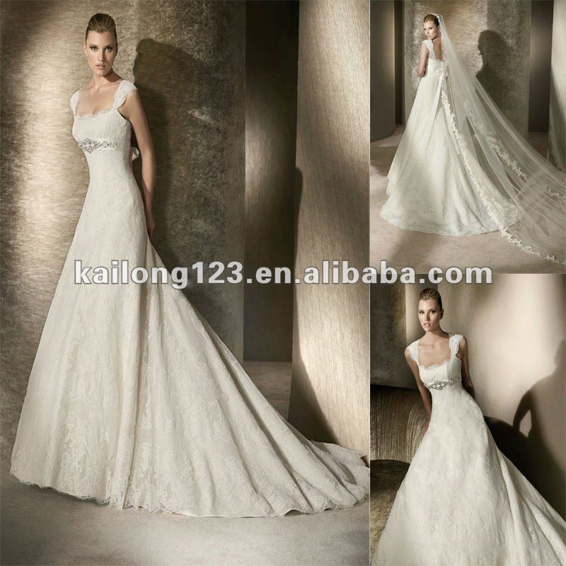 38fd62592b Popular A-line Beaded Empire Waist Scalloped Lace Cap Sleeve Wedding Dress