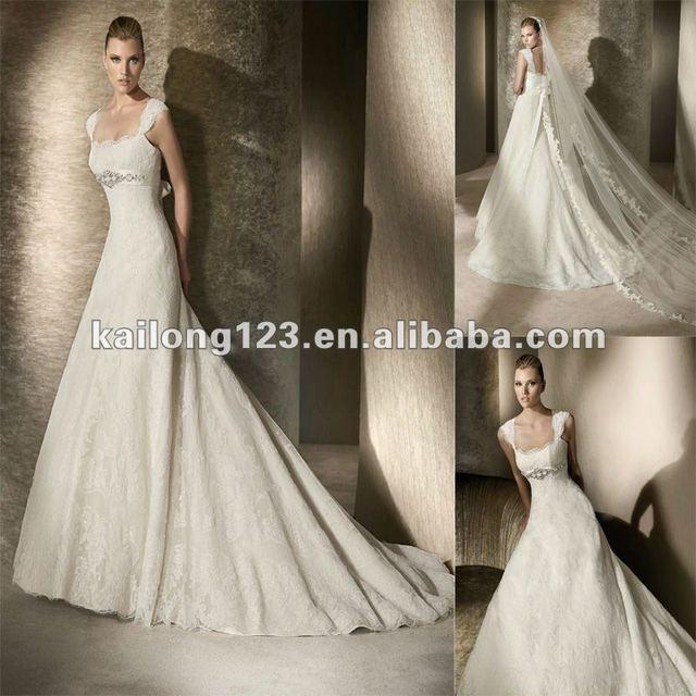 Popular A Line Beaded Empire Waist Scalloped Lace Cap Sleeve Wedding