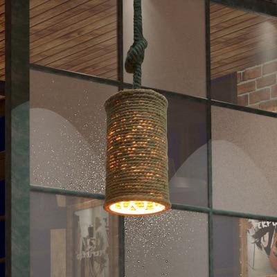 Retro Liny konopne wisiorek światła Loft Vintage Lampa ręcznie - Oświetlenie wewnętrzne - Zdjęcie 4