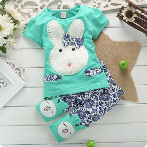 2015 New Hot Sale 2PC New Baby Kids Top Short Pants Set Clothes Cute Rabbit Girls Clothes Pink Green Size1-4 Years