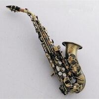 Top Authentic Children Saxophone B Flat Gold Key Soprano Saxophone Brass Antique Copper Simulation Saxophone