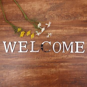 Akrylowe angielskie litery naklejka ścienna 3D DIY spersonalizowana nazwa samoprzylepne naklejki na lusterka na ślub urodziny Home Decor tanie i dobre opinie