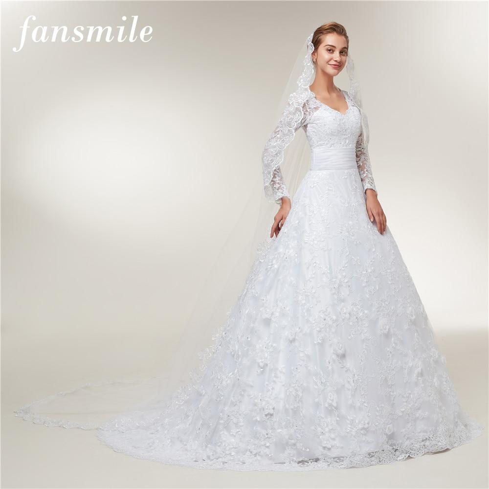 Fansmile Long Sleeves Lace Vestido De Noiva With Veil Wedding Dresses 2018 Train Custom-made Plus Size Wedding Gowns FSM-403T