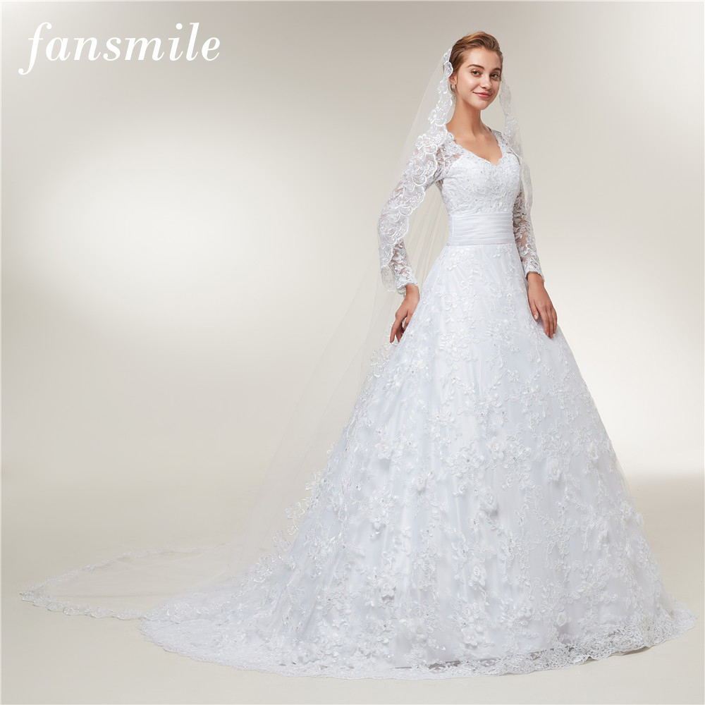 Fansmile Long Sleeves Lace Vestido De Noiva With Veil Wedding Dresses 2019 Train Custom-made Plus Size Wedding Gowns FSM-403T