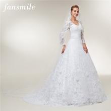 Fansmile Vestido De novia De encaje De manga larga, vestidos De novia hechos a medida, De talla grande, FSM 403T, 2020