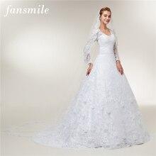 Fansmile ארוך שרוולים תחרה Vestido דה Noiva שמלות כלה 2020 רכבת מחוייט בתוספת גודל חתונה שמלות FSM 403T