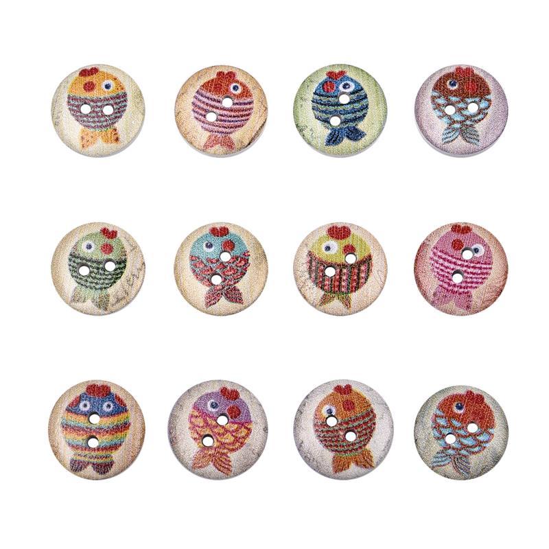 50 шт., новые круглые деревянные пуговицы с цветочным принтом, 2 отверстия, 15 мм, разные цвета, для шитья, деревянные пуговицы, аксессуары для украшения одежды, сделай сам - Цвет: A-14
