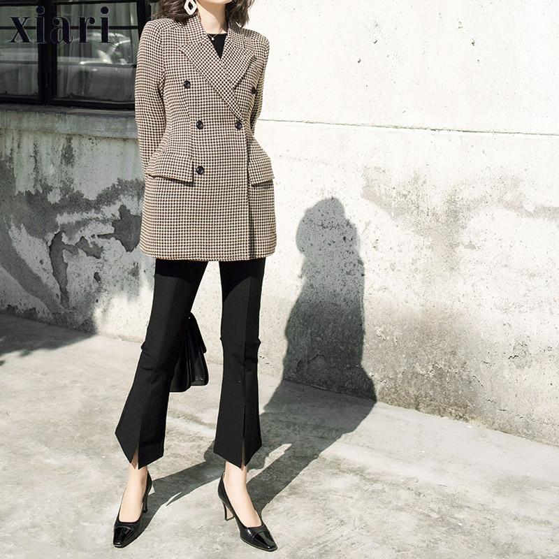 Women Plaid Blazer Autumn Winter 2018 Long Sleeve Double Breasted Coat Jacket Office lady Outerwear Woolen