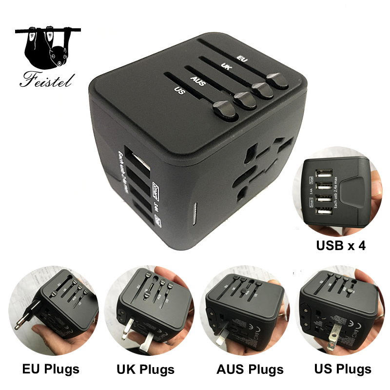 Universal World Charger Plug All-in-one Travel AC Power Adapter Converter 4 USB Port World Travel Adaptor Plug 4 usb port ac power charger adapter for
