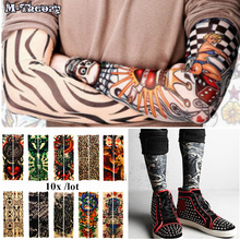 M-theory 10 pcs 3D Biker Arm Sleeve Tattoo Stockings Leggings Elastic Henna Temporary Flash Tatoo Body Arts Makeup Tools