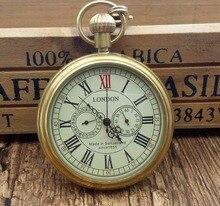 890de317d Antique Copper London Pocket Watch Men Women Unisex Mechanical Hand-winding  Roman numerals Necklace Gift