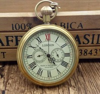 Antique Copper London Pocket Watch Men Women Unisex Mechanical Hand Winding Roman Numerals Necklace Gift With