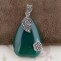 Thai Silver Green Pendant S925 silver inlaid antique style female heart shaped pendant imported from Thailand