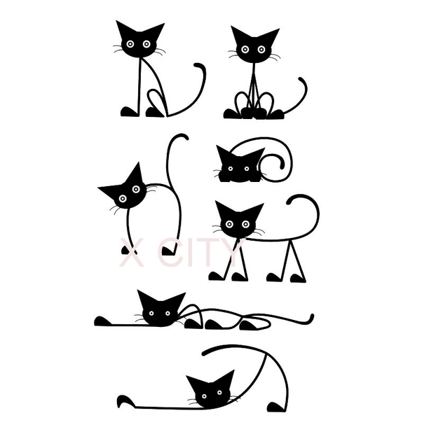 Adorable Cat Row Cartoon Silhouette Wall Art Decal Sticker Removable Vinyl Cut Transfer Stencil Mural Home